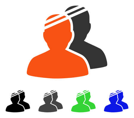 Patients flat vector pictograph. Colored patients gray, black, blue, green pictogram versions. Flat icon style for web design.