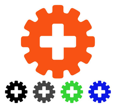 Plus Gear flat vector pictograph. Colored plus gear gray, black, blue, green icon versions. Flat icon style for graphic design.