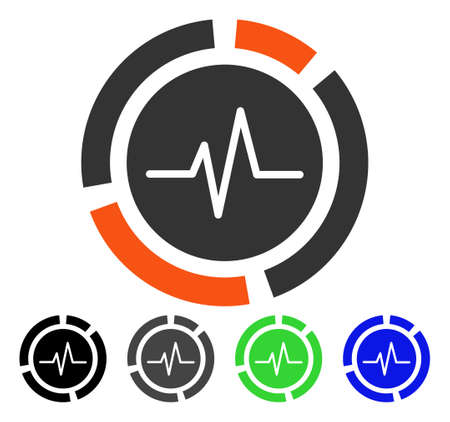 Pulse Diagram flat vector illustration. Colored pulse diagram gray, black, blue, green pictogram variants. Flat icon style for graphic design.