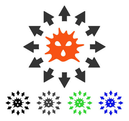 Virus Pandemy flat vector pictograph. Colored virus pandemy gray, black, blue, green icon variants. Flat icon style for web design. Illustration