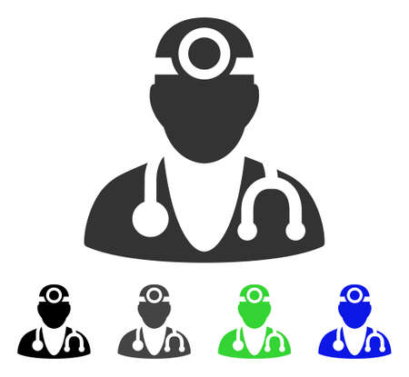 Vision Doctor flat vector pictogram. Colored vision doctor gray, black, blue, green icon variants. Flat icon style for application design.