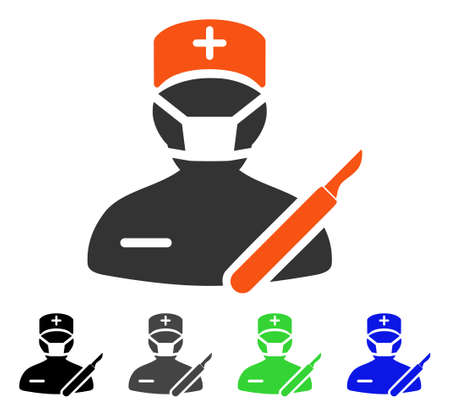 Surgeon flat vector illustration. Colored surgeon gray, black, blue, green icon variants. Flat icon style for application design.