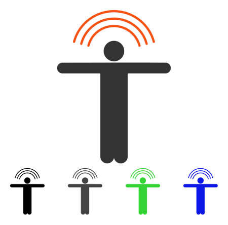 Telepath Person flat vector illustration. Colored telepath person gray, black, blue, green pictogram versions. Flat icon style for graphic design. Illustration