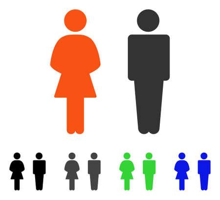 Icono de vector plano de personas de tocador. Coloreado WC personas gris, negro, azul, variantes de pictograma verde. Estilo de icono plano para el diseño de aplicaciones. Ilustración de vector