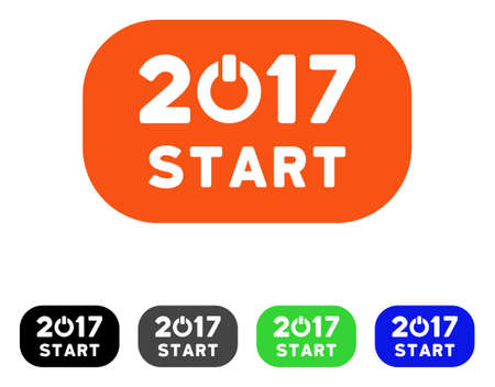 log off: 2017 Start Button flat vector pictogram. Colored 2017 start button gray, black, blue, green pictogram variants. Flat icon style for web design.