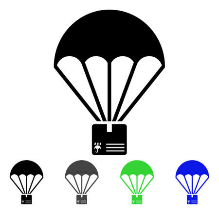Cargo parachute flat pictograph. Illustration