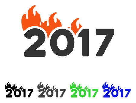 Fired 2017 Year Caption flat vector pictogram. Colored fired 2017 year caption gray, black, blue, green pictogram versions. Flat icon style for web design. Illustration