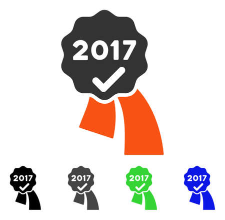 2017 Approve Seal flat vector pictogram. Colored 2017 approve seal gray, black, blue, green pictogram versions. Flat icon style for web design.