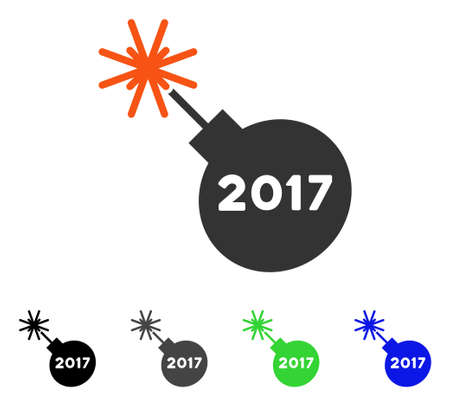 2017 Grenade flat vector pictograph. Colored 2017 grenade gray, black, blue, green pictogram variants. Flat icon style for web design. Illustration