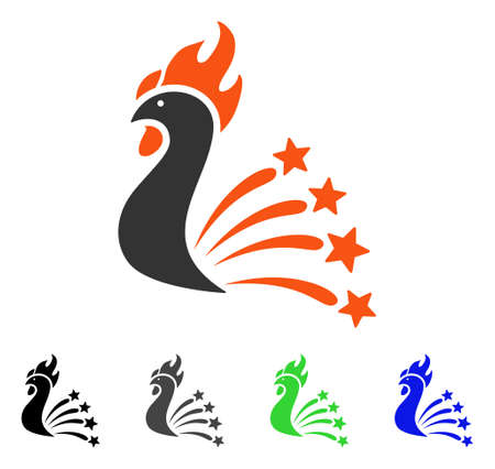 Rooster Fireworks flat vector illustration. Colored rooster fireworks gray, black, blue, green icon versions. Flat icon style for graphic design.