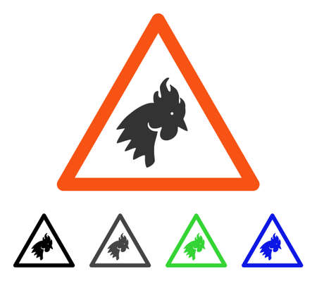 Rooster warning flat pictograph. Illustration