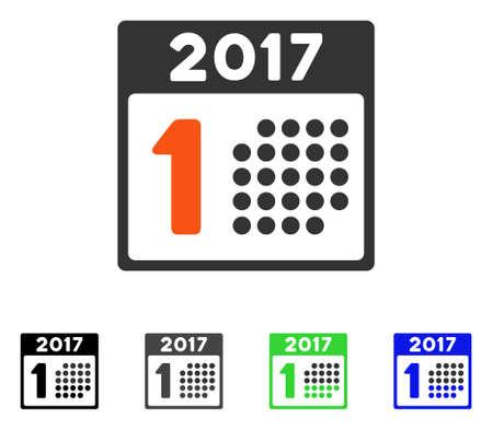 첫 번째 2017 달력 하루 플랫 벡터 픽토그램. 2017 년 달력 일 회색, 검정, 파랑, 녹색 그림 변형이 처음으로 표시됩니다. 응용 프로그램 디자인을위한 평