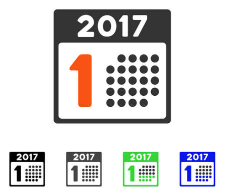 First 2017 Calendar Day flat vector pictogram. Colored first 2017 calendar day gray, black, blue, green pictogram variants. Flat icon style for application design.