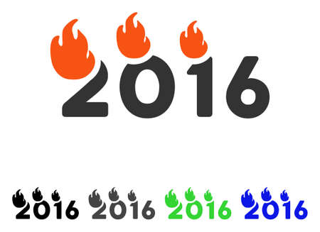 Flamed 2016 Text flat vector pictogram. Colored flamed 2016 text gray, black, blue, green icon variants. Flat icon style for graphic design.