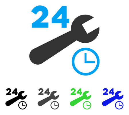 Nonstop Service Hours flat vector illustration. Colored nonstop service hours gray, black, blue, green pictogram versions. Flat icon style for web design.