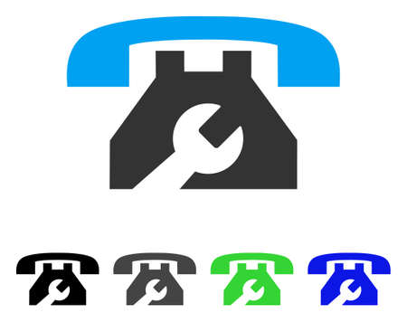 Service Phone flat vector illustration. Colored service phone gray, black, blue, green icon versions. Flat icon style for web design. Illustration