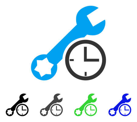 Service Time flat vector illustration. Colored service time gray, black, blue, green icon versions. Flat icon style for application design.