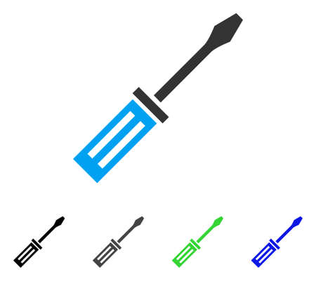 Screwdriver flat vector pictogram. Colored screwdriver gray, black, blue, green pictogram variants. Flat icon style for application design. Illustration