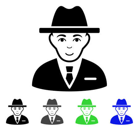 fbi: Agent flat vector pictogram. Colored agent gray, black, blue, green icon variants. Flat icon style for application design.