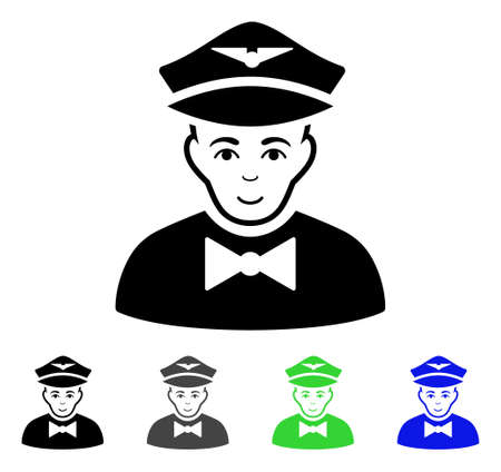 Airline Steward flat vector pictogram. Colored airline steward gray, black, blue, green pictogram versions. Flat icon style for graphic design.