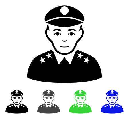 Army General flat vector illustration. Colored army general gray, black, blue, green icon versions. Flat icon style for graphic design.
