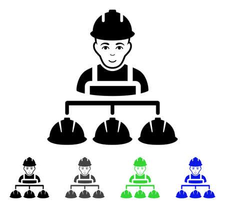Pictogramme de plat vecteur de gestion Builder. Variantes de pictogramme gris, noir, bleu, vert de gestion de constructeur. Style d'icône plate pour la conception web. Vecteurs