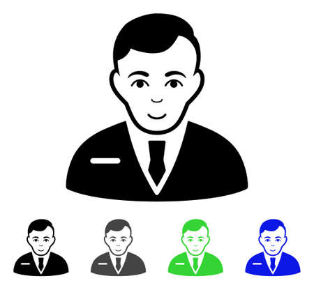 Businessman flat vector pictograph. Colored businessman gray, black, blue, green icon versions. Flat icon style for web design.