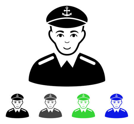 Captain flat vector pictogram. Colored captain gray, black, blue, green icon variants. Flat icon style for web design. Illustration