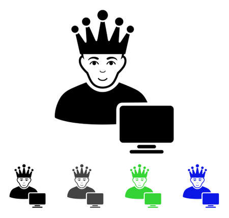 moderator: Computer Moderator flat vector pictogram. Colored computer moderator gray, black, blue, green pictogram variants. Flat icon style for application design.