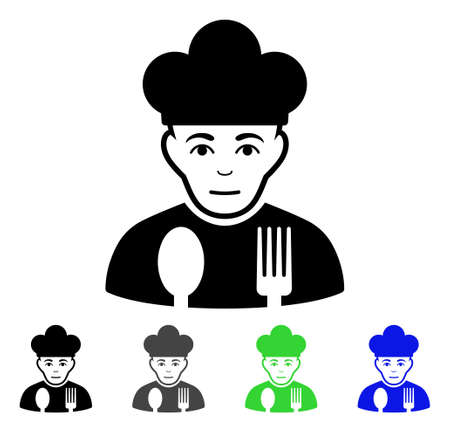 Sad Cook flat vector pictograph. Colored sad cook gray, black, blue, green pictogram variants. Flat icon style for graphic design.