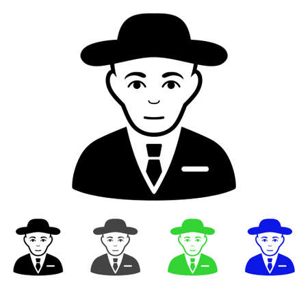 investigating: Secret Service Agent flat vector illustration. Colored secret service agent gray, black, blue, green pictogram variants. Flat icon style for web design.