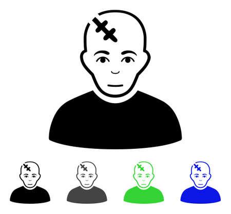 頭を傷つけるフラット ベクトル絵文字。着色された頭部の傷灰色、黒、青、緑のアイコンの亜種。Web デザインのフラット アイコン スタイル。