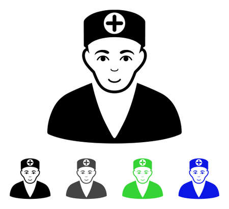 Medic flat vector pictograph. Colored medic gray, black, blue, green pictogram variants. Flat icon style for graphic design. Illusztráció