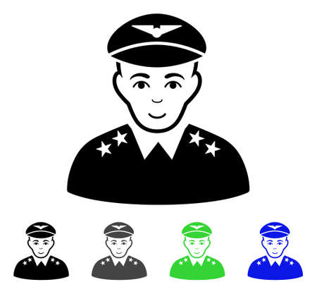 Military Pilot Officer flat vector pictogram. Colored military pilot officer gray, black, blue, green pictogram variants. Flat icon style for graphic design.