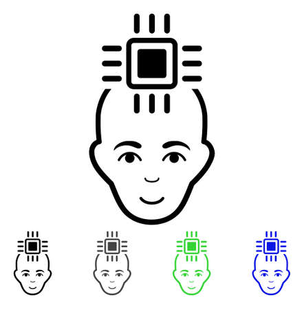 Neural Computer Interface flat vector pictogram. Colored neural computer interface gray, black, blue, green icon variants. Flat icon style for web design.