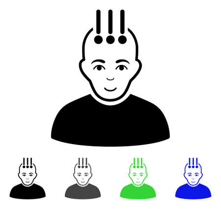 Neural Interface flat vector pictogram. Colored neural interface gray, black, blue, green icon variants. Flat icon style for graphic design. Illustration