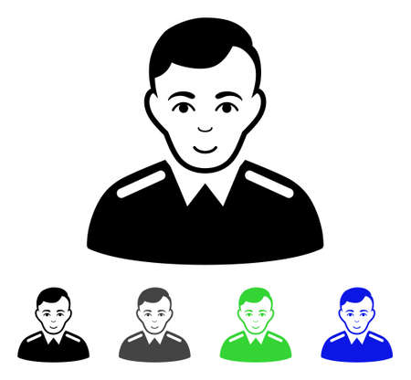 sergeant: Officer flat vector illustration. Colored officer gray, black, blue, green pictogram variants. Flat icon style for web design.