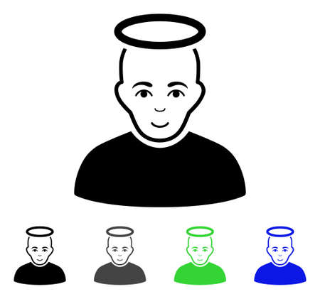 unreal: Holy Man flat vector icon. Colored holy man gray, black, blue, green icon versions. Flat icon style for application design.