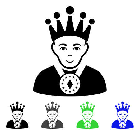 czar: King flat vector illustration. Colored king gray, black, blue, green icon versions. Flat icon style for web design.