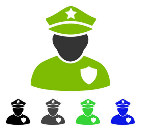 Police Officer flat vector pictograph. Colored police officer gray, black, blue, green pictogram versions. Flat icon style for application design.