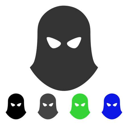 Terrorist Balaklava flat vector pictogram. Colored terrorist balaklava gray, black, blue, green pictogram variants. Flat icon style for application design.