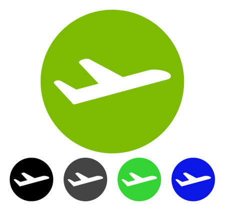 Valid Airplane Departure flat vector illustration. Colored valid airplane departure gray, black, blue, green pictogram variants. Flat icon style for graphic design. Illustration