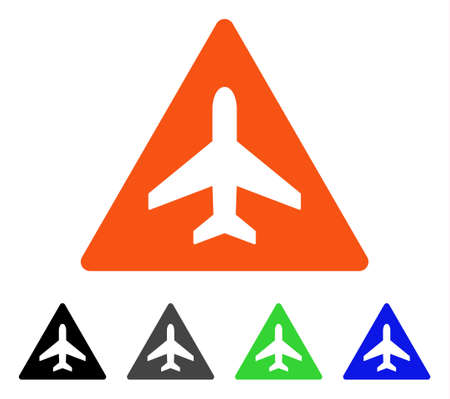 Aircraft Danger flat vector illustration. Colored aircraft danger gray, black, blue, green pictogram versions. Flat icon style for web design.