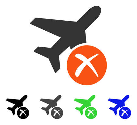 usaf: Aircraft Reject flat vector pictogram. Colored aircraft reject gray, black, blue, green pictogram versions. Flat icon style for web design. Illustration