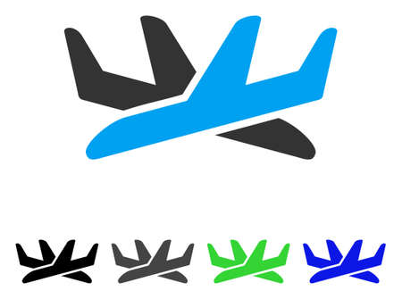 Crossing Airplanes flat vector illustration. Colored crossing airplanes gray, black, blue, green icon versions. Flat icon style for web design.