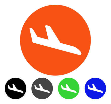 Danger Landing Aircraft flat vector pictogram. Colored danger landing aircraft gray, black, blue, green pictogram versions. Flat icon style for web design. Stock Vector - 83176816