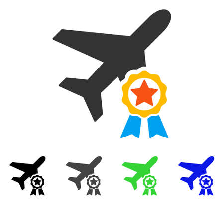 Airplane Certification flat vector pictograph. Colored airplane certification gray, black, blue, green icon variants. Flat icon style for application design.