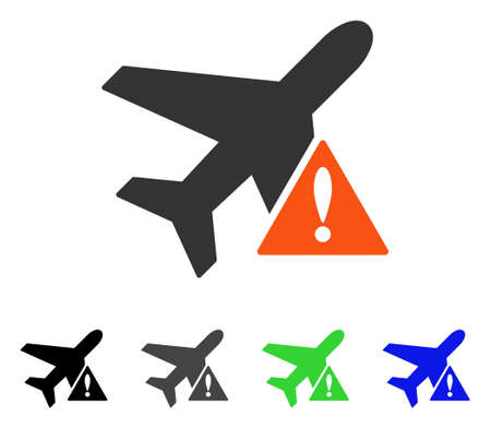 Airplane Error flat vector pictogram. Colored airplane error gray, black, blue, green pictogram variants. Flat icon style for application design. Illustration