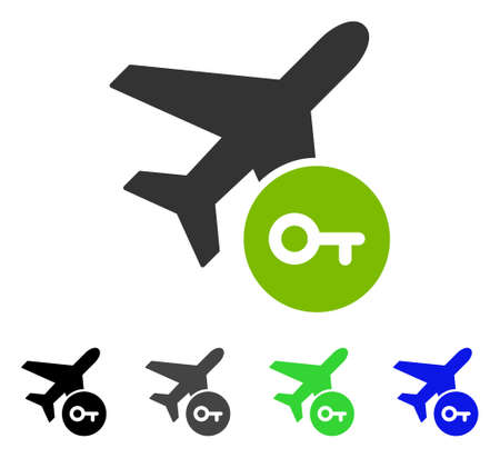 latchkey: Airplane Key flat vector icon. Colored airplane key gray, black, blue, green pictogram versions. Flat icon style for graphic design. Illustration