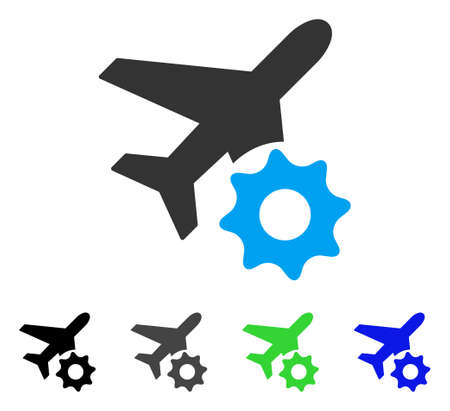 Airplane Options Gear flat vector pictograph. Colored airplane options gear gray, black, blue, green pictogram versions. Flat icon style for application design.